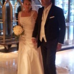 A newly married couple enter the Melia Lebreros Hotel for their wedding reception.  The Melia Lebreros has been our official hotel in Seville.