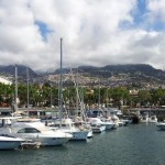 Funchal marina dominated by the mountains of Maderia