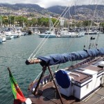 Funchal marina from the stately yacht 'Buteo'.