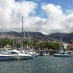 The Maderia mountains tower over Funchal marina