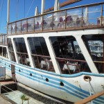 'Vagrant' - a boat formerly owned by the Beatles but now turned into a restaurant.