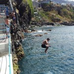 Young chap about to make a splash in Funchal harbour