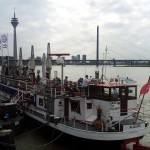 Allegra restaurant anchored on the Rhine River on the Dusseldorf riverfront.