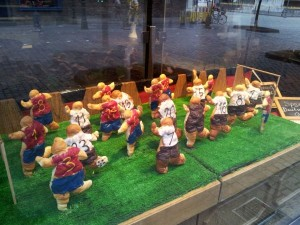 Euro 2012 crosssants lined up in Dusseldorf baker&#039;s shop