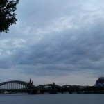 Railway bridge over Rhine and Cologne cathedral
