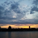 Stunning sunset over Cologne and the Rhine River