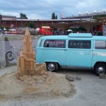 VW Combi and Sand Castle feature on Colonge 'Beach'.