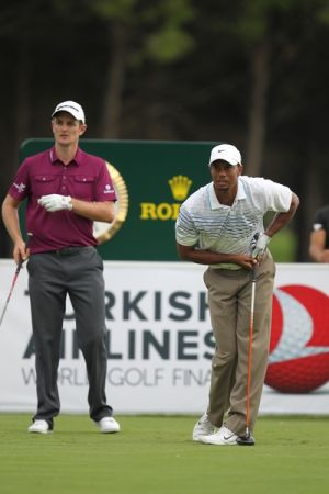 Tiger Woods and eventual champion Justin  Rose competing in last year's Turkish Airlines     Invitational.  (Photo - Fran Caffrey/www.golffile.ie)