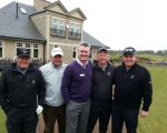Kingbarns Director of Golf Alan Hogg (purple pullover) welcomes us to the first tee at Kingsbarns