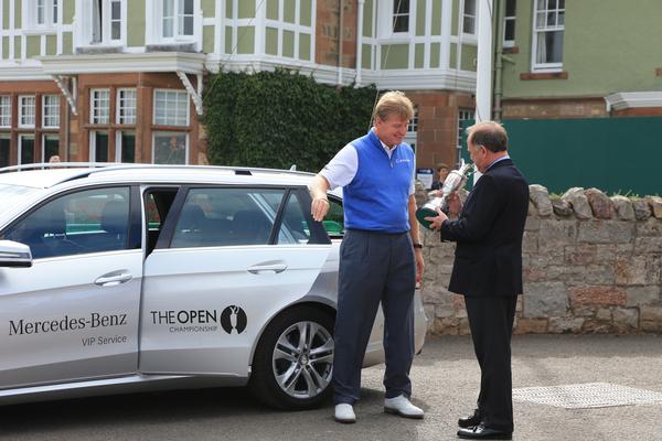 Ernie Els returns the Claret Jug to R & A CEO Peter Dawson.  (Photo - Fran Caffrey/www.golffile.ie)