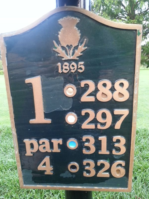 Country Club of Rochester - First hole plaque.  (Photo - www.golfbytourmiss.com)