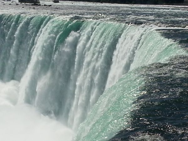 A stunning view of the Canadian Falls .