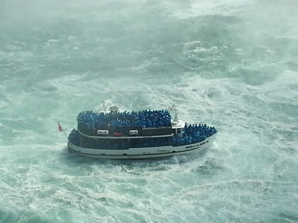 The Maid of the Mist at the foot of the Canadian Falls.