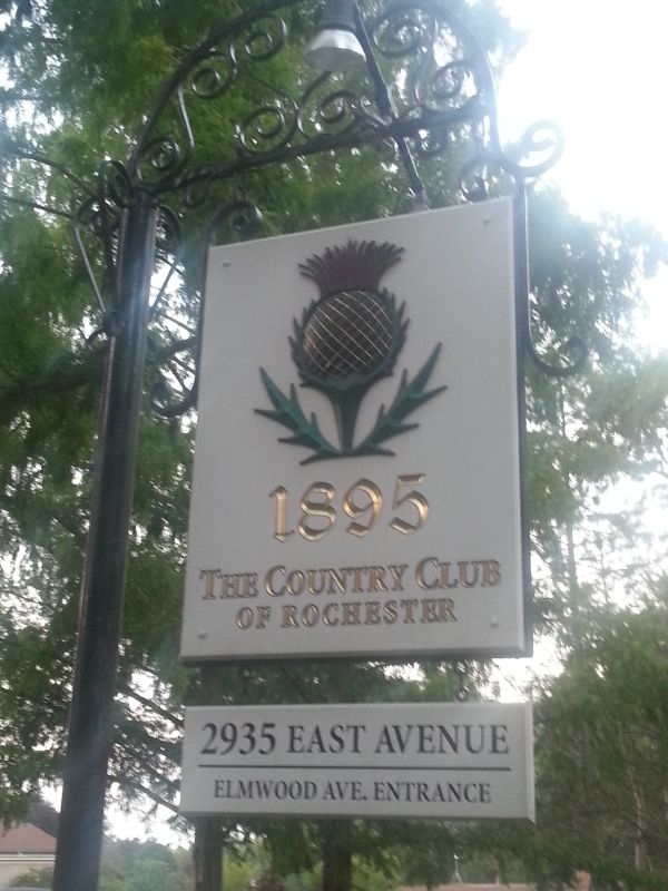Entrance to the Country Club of Rochester with the club's logo a Scottish thistle in honour of its roots with the Home of Golf.  (Photo - www.golfbytourmiss.com)