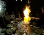 A flaming end to the meal - cooked bananas with ice cream.