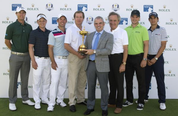 2014 European Ryder Cup Captain, Paul McGinley, with Rolex Ambassadors; Nicolas Colsaerts, Luke Donald, Paul Casey, George O'Grady (European Tour - Chief Executive), Jean-Noel Bioul (Rolex Communications Senior Advisor), Martin Kaymer and Matteo Manassero at today's historic announcement of the extended partnership between Rolex and The European Tour to 2022.  (Photo - Fran Caffrey/www.golffile.ie)