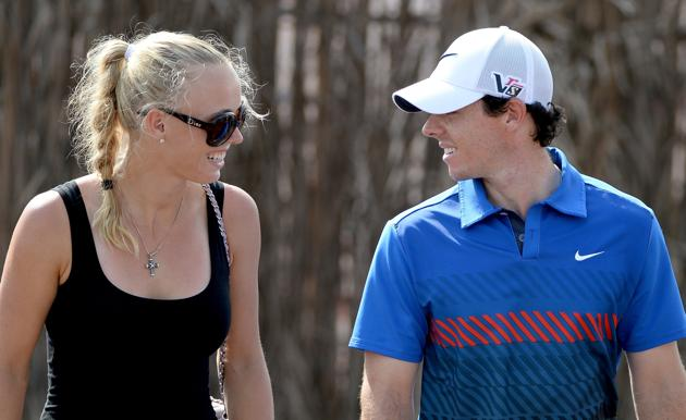 Caroline Wozniacki joins Rory McIlroy late last year in Dubai for her first appearance at a golf tournament since the Masters.  (Photo - Fran Caffrey/www.golffile.ie)