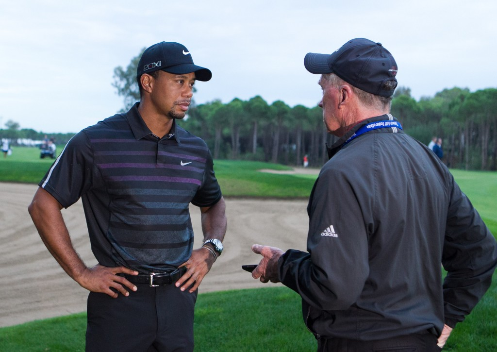 Bernie talking with Tiger after poor light halted play on day one of the Turkish Airlines Open.  (Exclusive photo - Stuart Adams/www.golftourimages.com)