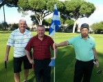 Danny, Craig and Davy on 18th green.  Craig and Bernie stormed their way to 5 & 4 hammering of Danny and Davy.