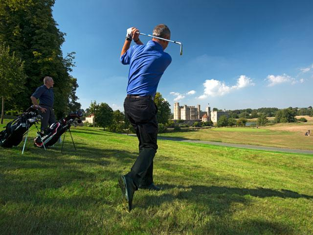 Playing golf at Leeds Castle course - Photo Leeds Castle Foundation.