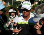Hideki Matsyuma center of a media scrum following his actions a day earlier in the WGC - Cadillac Championship. (Photo - www.golfbytourmiss.com)