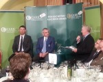 Padraig Harrington and Paul McGinley host a Q & A near the close of the Irish Golf Writers Awards dinner.