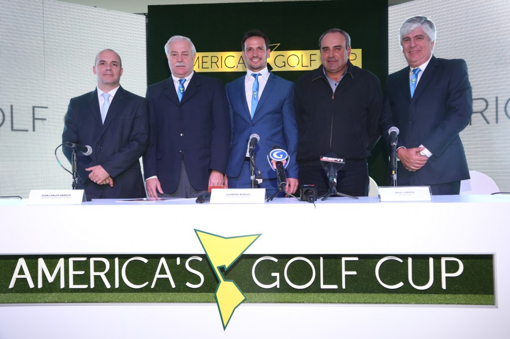 Launch of the 2014 America's Golf Cup - Guillermo Ricaldoni, Juan Carlos Arroyo, Lisandro Borges, Ángel Cabrera and Francisco Aleman.