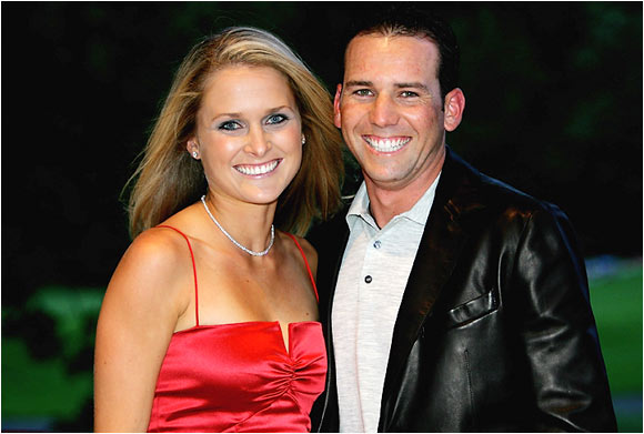 Sergio Garcia with ex-girlfriend Morgan-Leigh Norman who dumped the Spaniard in early 2009.