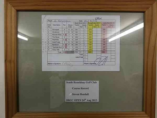 22. South Ronaldsay G C - Course record scorecard.