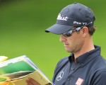 Masters champion Adam Scott deep in paper work ahead of this week's WGC - Bridgestone Invitational but revealing he's not superstitious (Photo - Eoin Clarke/www.golffile.ie)