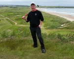 Bernie revisiting Cruden Bay Golf Club.