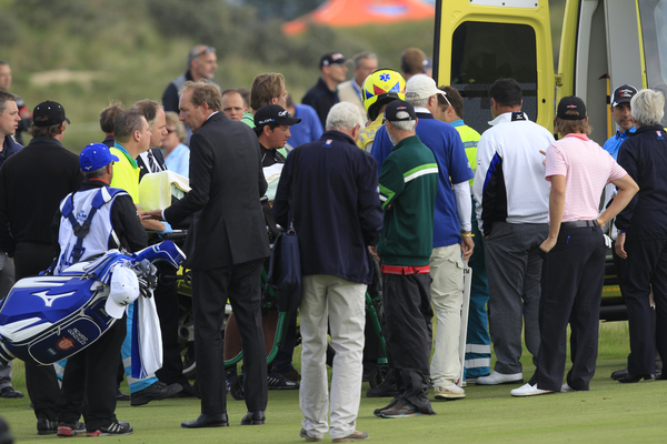 The scene on the 16th tee with an ambulance on the course to attend to injured Fabrizio Zanotti.  (Photo - Thos Caffrey/www.golffile.ie)