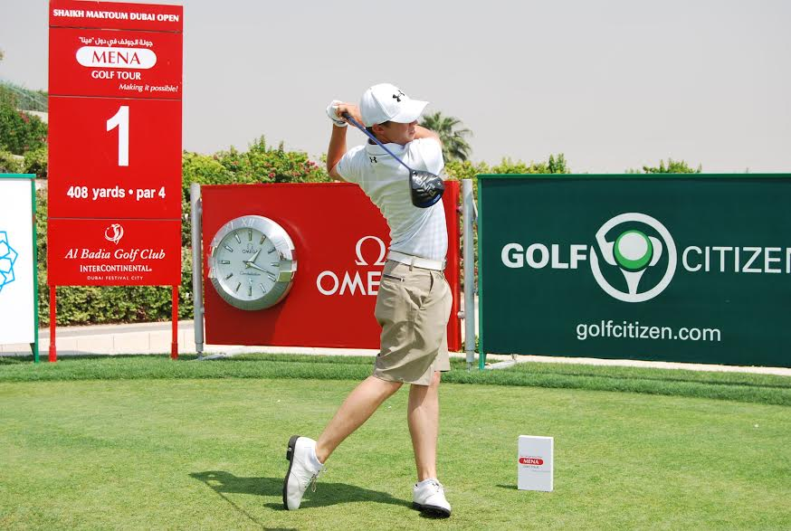 England's Matthew Fitzpatrick teeing off in his first MENA Tour event earlier today at Al Badia GC in Dubai.