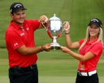 Patrick Reed wins his first PGA Tour title in capturing 2013 Wyndham Championship with his future wife Justine as caddy.