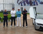 Ryder Cup captain Paul McGinley along with Justin Rose, wu and Ian Poulter in between their respective Lake Malaren race machines.
