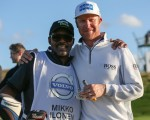 Mikko Ilonen and his delighted and extremely popular caddy, Reggie.  (Photo - David Lloyd/www.golffile.ie)