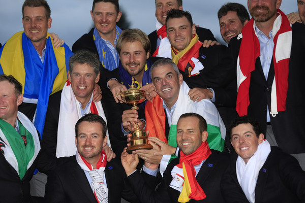 Paul McGinley gets emotional in watching Ryder Cup highlights with his 14-year old son.  (Photo - www.golffile.ie)