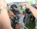 Henrik Stenson soaked to the skin after capturing second straight DP World Tour Championship title.  (Photo - Fran Caffrey/www.golffile.ie)
