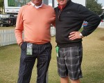 Bernie (shorts) catches up at the Franklin Templeton Shootout with leading Scottish caddy Davy Sharp who is working at the Old Collier course in Naples, Florida.