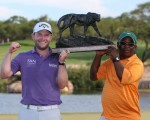 Branden Grace and caddy Zach savour success in the Alfred Dunhill Championship.  (Photo - David Lloyd/www.golffile.ie)