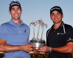 Cameron Tringale and Jason Day savour victory in the 2104 Franklin Templeton Shootout.  (Photo - www.pgatour.com)