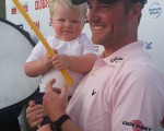 Marc Warren with new two-year old son Archie after moving one shot clear of the field on the second day of the Omega Dubai Desert Classic.  (Photo - www.golfbytourmiss.com)