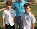 World No. 1 Rory McIlroy with Oscar and Owen Dover during the 2015 Abu Dhabi Championship.