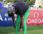 Darren Clarke clearly not comfortable with his right ankle.  Exclusive photo - Eoin Clarke/www.golffile.ie)