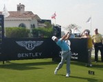 World No. 1 Rory McIlroy drives off the first hole in the 2015 Abu Dhabi Invitational