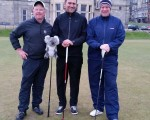 Bernie, Martin and James on 1st tee Old Course, St. Andrews.