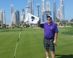 Bernie on the second green of the Faldo Course at the Emirates GC.