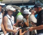 Shane Lowry signs autographs after his final round and is now bound for a maiden Masters.  (Photo - www.golfbytourmiss.com)