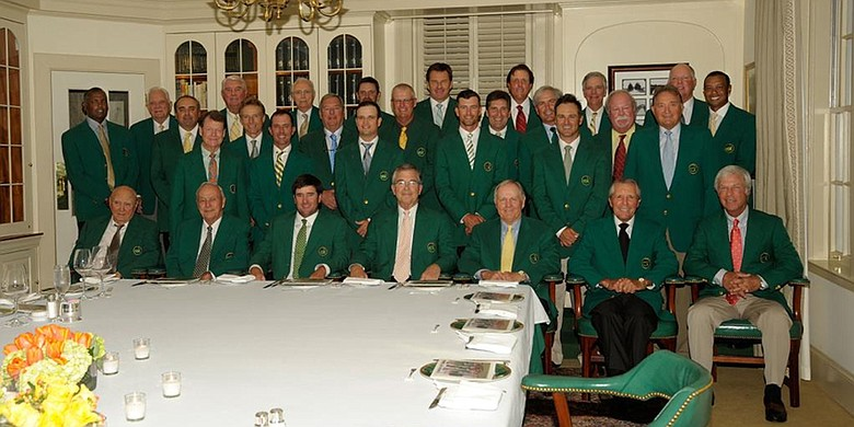 The 2015 Masters Champions dinner but with Sandy Lyle hardly impressed with the menu.  (Photo - Augusta National)