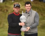 Dane Soren Kjeldsen congratulated by Rory McIlroy after capturing the Dubai Duty Free Irish Open.  (PHoto - www.europeantour.com)